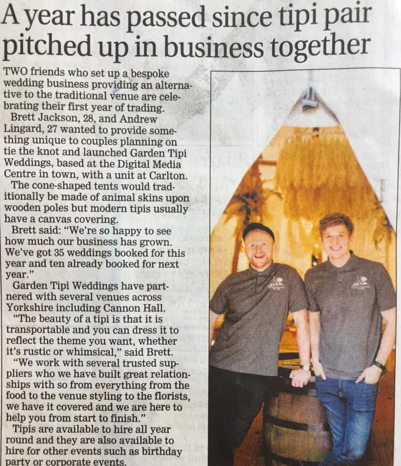 Award winning wedding singers turned Tipi (Teepee) entrepreneurs smash their business gaols in 2019