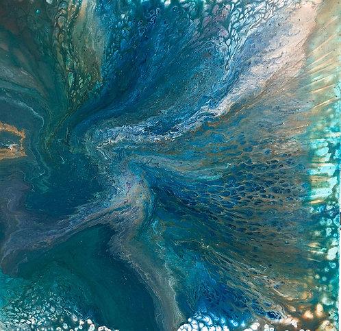 """Turquoise Vortex - 36"""", acrylic"""
