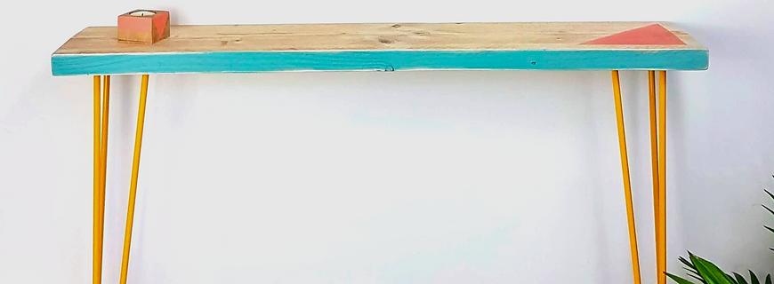 Reclaimed scaffold board console table, triangle design
