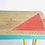Reclaimed scaffold board console table  geometric design close up by Orange Otter