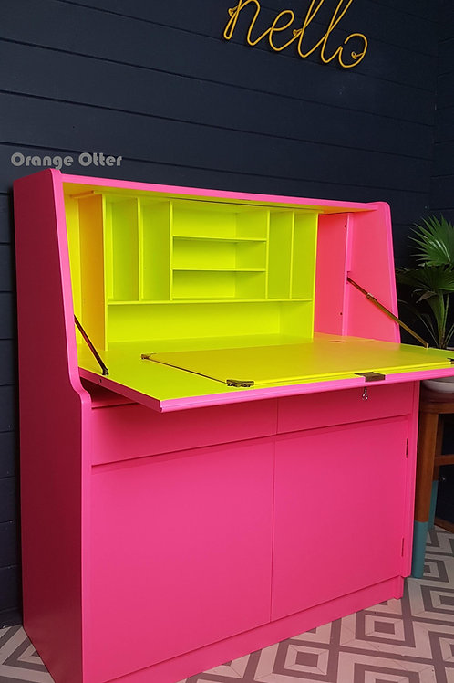 Open neon pink and yellow bureau by Orange Otter