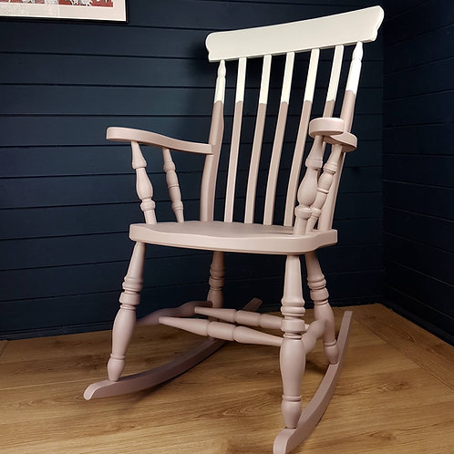 Two-tone pink painted wooden rocking chair