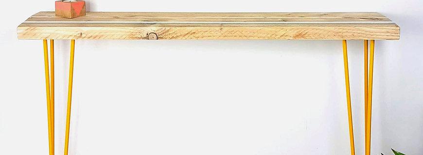 Reclaimed scaffold board console table, stripes design