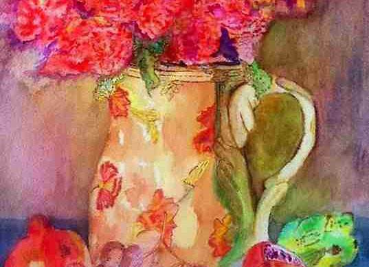 Flowers, jug and fruit
