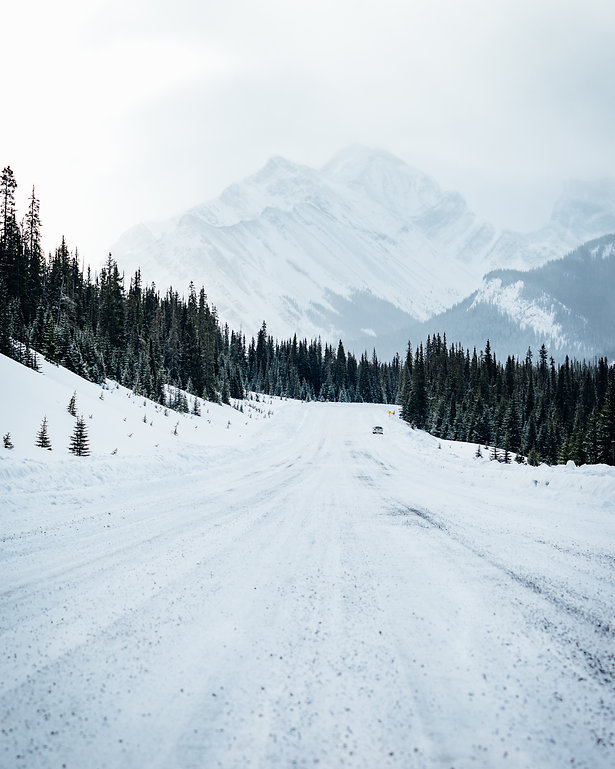 kananaskis alberta winter road rockies