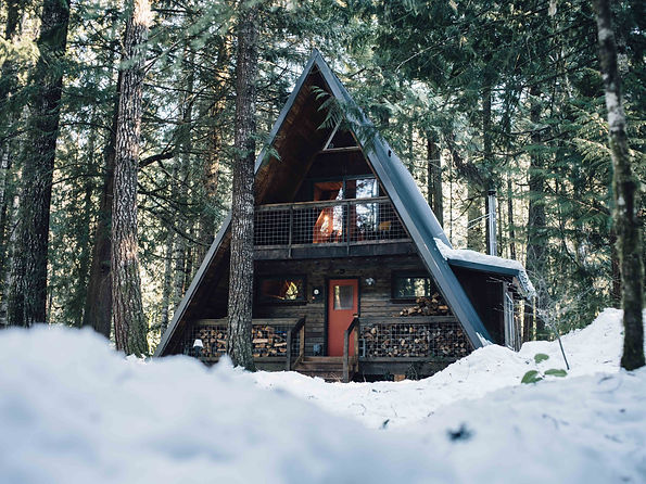cabin washington pnw winter christmas snow log forest