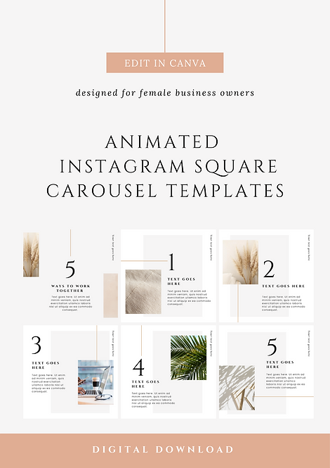 Animated Instagram & Facebook Carousel Canva Templates | Social Media Canva Templates for Female Business Owners & Brands
