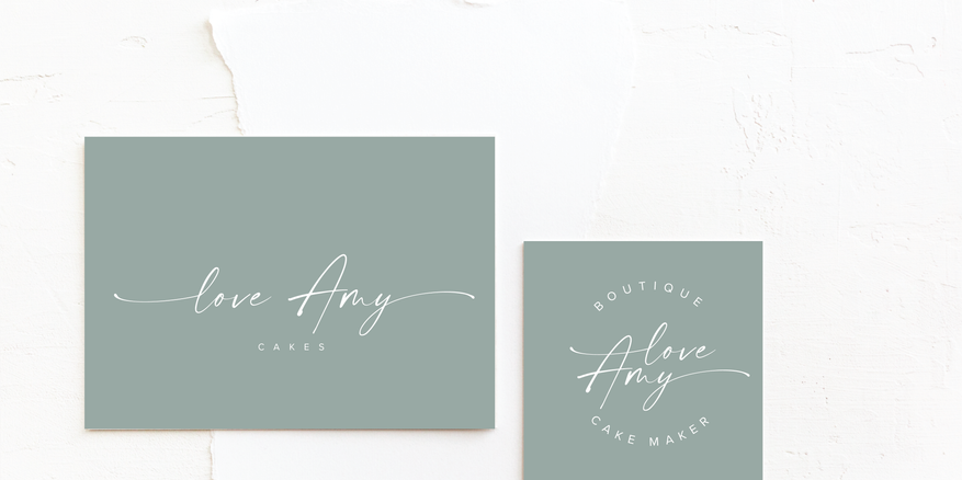 Cake Maker Logo & Brand Identity Design in soft green | Feminine Brand Identity Design | Premade Logo & Branding Kits for Female Businesses, Creatives and Wellbeing Solopreneurs
