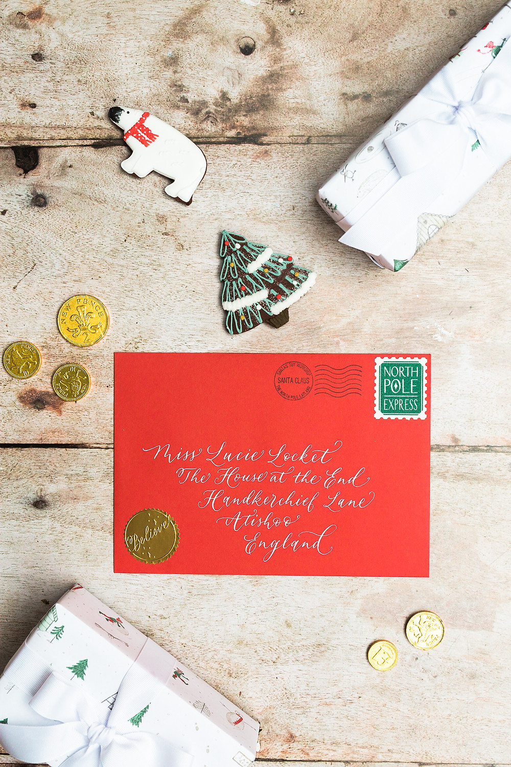 Personalised Father Christmas Letter | Christmas Calligraphy Photography with Judy Broad Calligraphy | Fresh Leaf Creative Brand Photographer