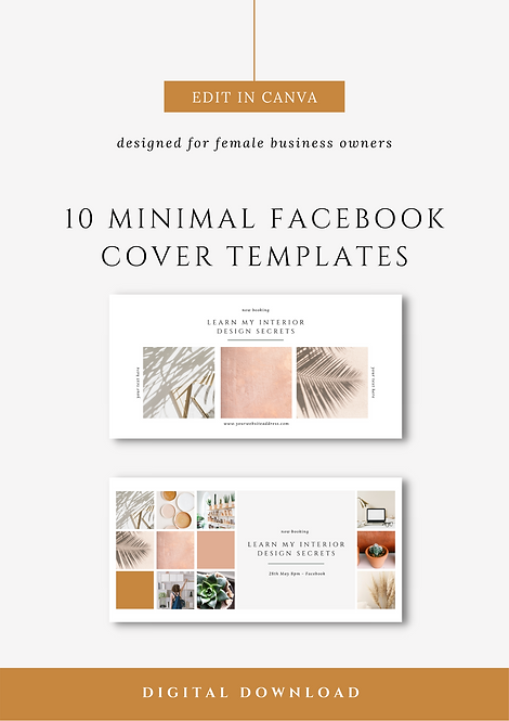Minimal Facebook Cover Canva Templates | Social Media Canva Templates for Female Business Owners & Brands