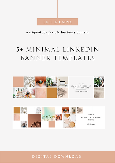 Fresh Minimal LinkedIn Banner Canva Templates | Social Media Canva Templates for Female Business Owners & Brands