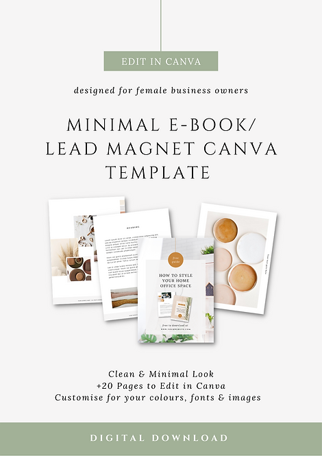 Minimal E-book & Lead Magnet Canva Template | Brand Canva Templates for Female Business Owners