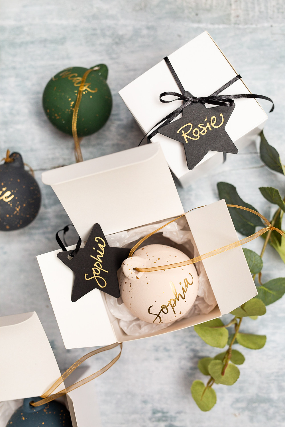 Christmas Calligraphy Details | Brand Photography for Judy Broad Calligraphy By Fresh Leaf Creative | Personalised Calligraphy Baubles
