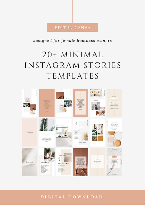 Clean & Minimal Instagram Stories Canva Templates | Social Media Canva Templates for Female Business Owners & Brands