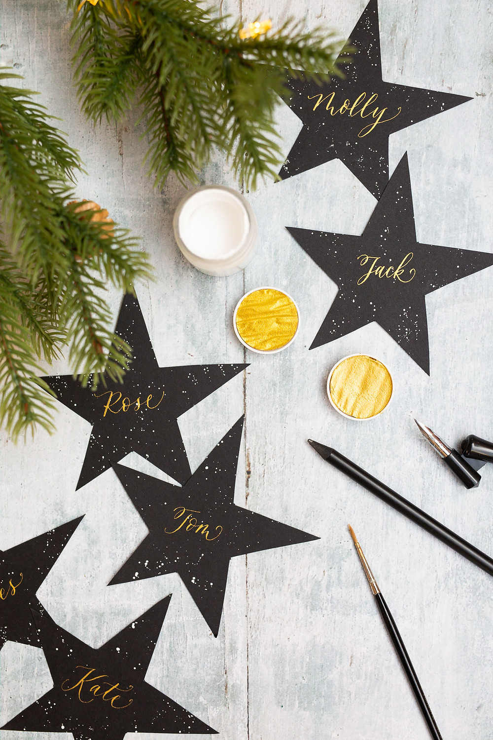 Christmas Calligraphy Details | Brand Photography for Judy Broad Calligraphy By Fresh Leaf Creative | Calligraphy DIY Dinner Settings