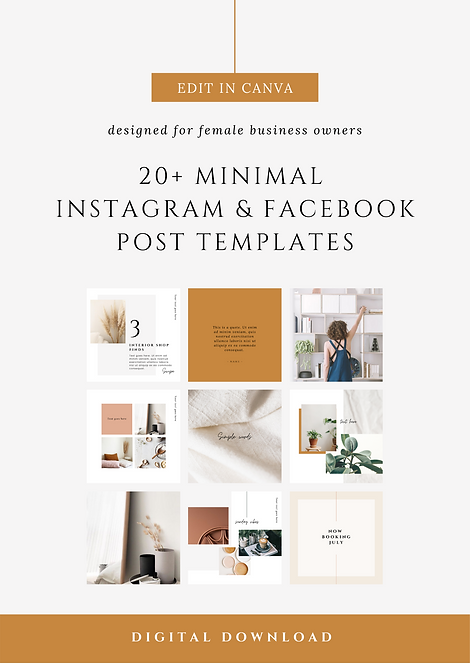 Minimal Instagram & Facebook Post Canva Templates | Social Media Canva Templates for Female Business Owners & Brands