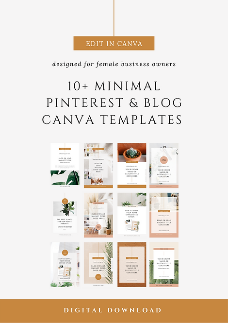 Minimal Pinterest Pin & Blog Post Cover Canva Templates | Social Media Canva Templates for Female Business Owners & Brands