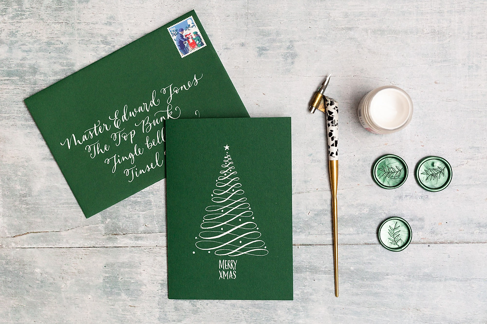 Christmas Calligraphy Details | Brand Photography for Judy Broad Calligraphy By Fresh Leaf Creative | Personalised Calligraphy Christmas Cards