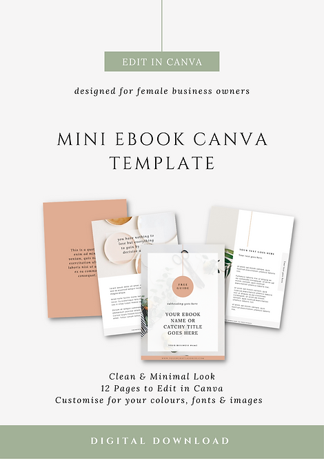 Fresh & Minimal Mini E-Book Canva Template | Social Media Brand Canva Templates for Female Business Owners