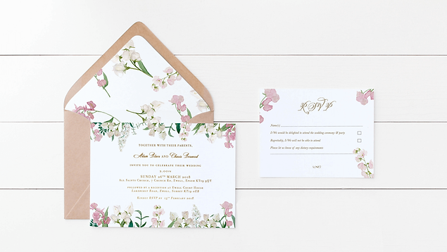 ILLUSTRATED WEDDING INVITE AND ENVELOPES