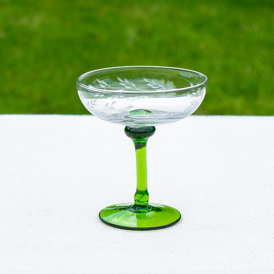Leaf Etched Champagne Coupes