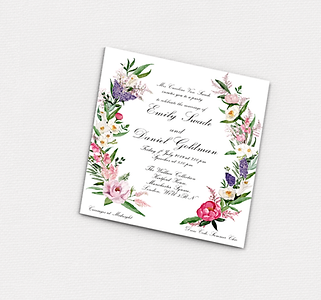FLORAL ILLUSTRATED WEDDING INVITATION