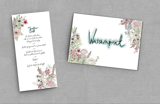 WEDDING MENUS AND TABLE NAMES