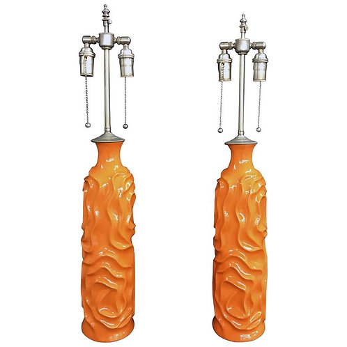 Pair of Unusual Tangerine Glazed Vases with Lamp Application