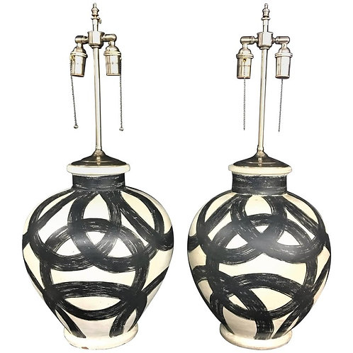 Pair of Large Decorative Round Vessels with Lamp Application