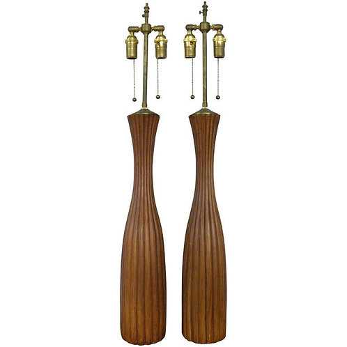 Tall Pair of Ceramic, Faux Wood, Scored Wood Vases with Lamp Application