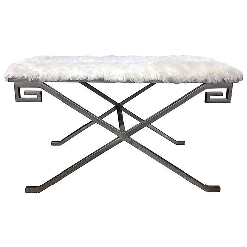 Hollywood Regency Style Bench with Faux Fur Seat and Greek Key Corner Detail