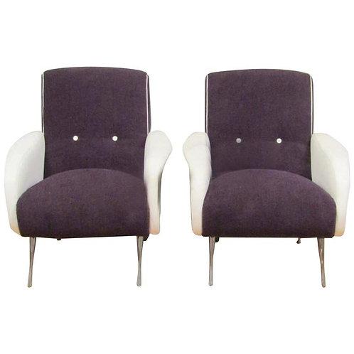 Unique Pair of Mid-Century Club Chairs