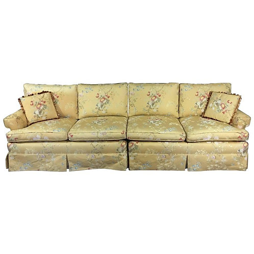Large Two-Piece Sectional Sofa in Pale Yellow Brocade