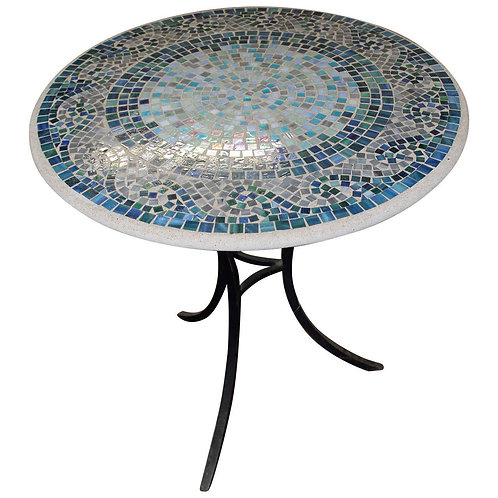 Whimsical Iridescent Mosaic Breakfast Table on Blackened Steel Base