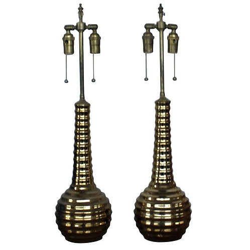 Pair of Mid century modern gold glass vases with lamp application