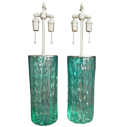 "Pair of Unusual Textured ""Coke"" Green Glass Vases with Lamp Application"
