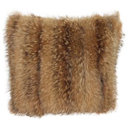 """Luxurious Down Filled Genuine Tanuki Fur Throw Pillows 16"""""""