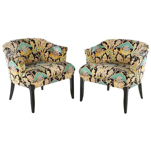 Pair of Chic Occasional Chairs with Ebonized Legs