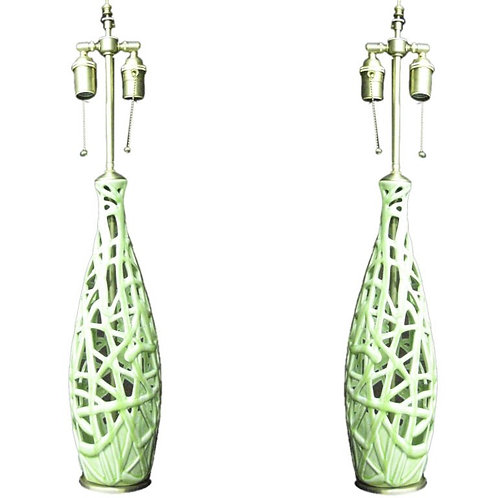 Pair of french Art nouveau style table lamps
