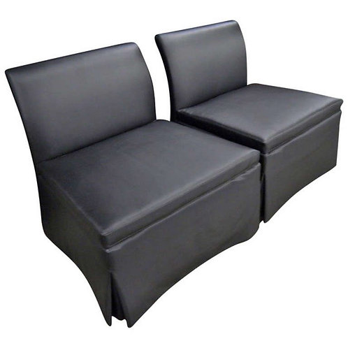 Chic Pair of Estate Slipper Chairs, Matte Black Fabric