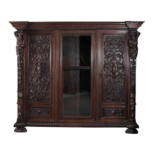 Finely Carved Vitrine Armoire