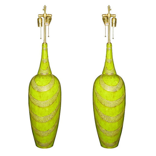 Pair of Chartreuse Lacquer Vessels with lamp application
