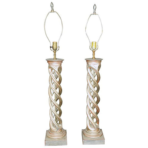 "Pair of ""twist-turned"" column table lamps by James Mont"