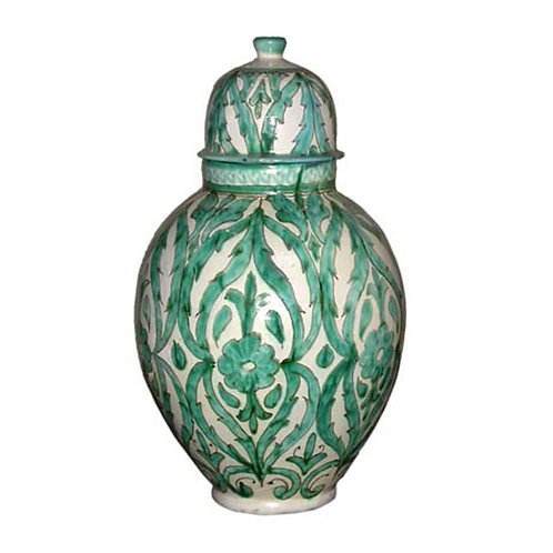 Beautifully hand-painted lidded ceramic urn