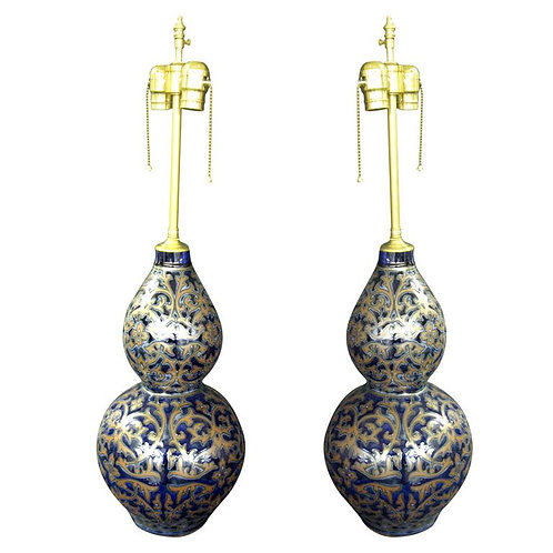 Pair decorated dark gourde Table Lamps