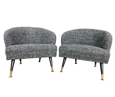 Fully Restored Mid-Century Modern Barrel Backed Club Chairs