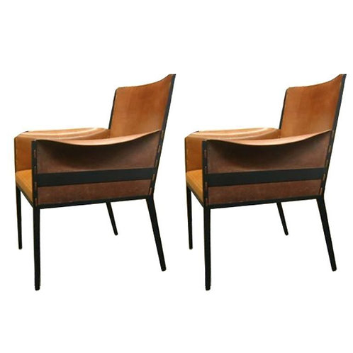 Pair French Jean Michel Frank 1940's Style Chairs
