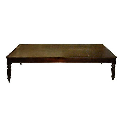 """10' mahogany """"Board"""" table w/embossed leather inset"""