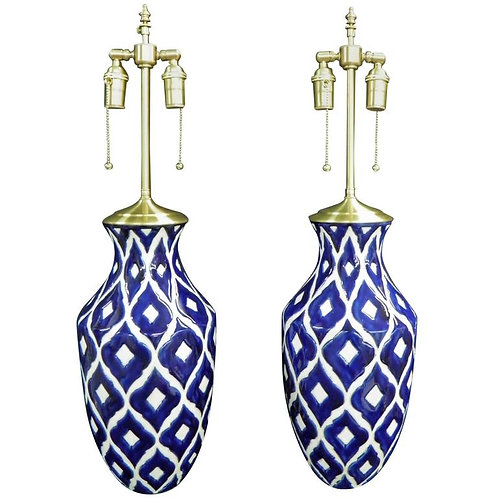 Bold and Beautiful Pair of Cobalt and White Vases with Lamp Application