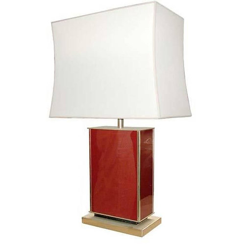 Coral Red Lacquer Table Lamp